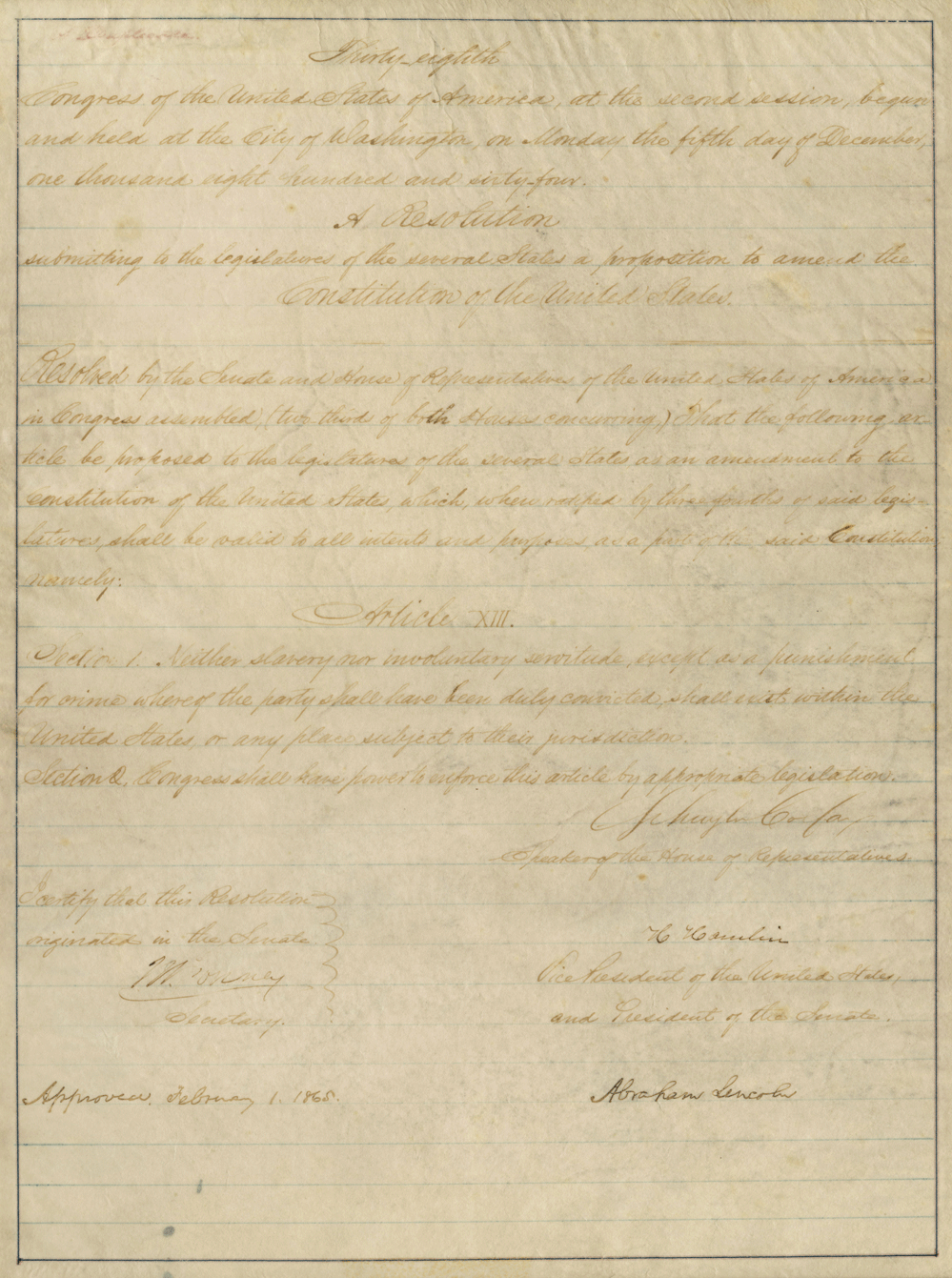 abolishing slavery the thirteenth amendment signed by abraham lincoln the colfax copy of the thirteenth amendment