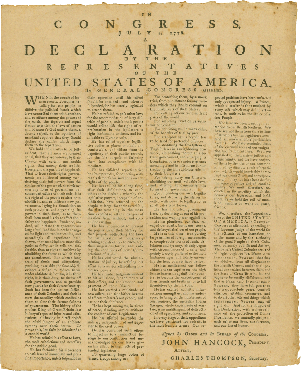 the declaration of the independence Eager to deny america's christian heritage, secularists have consistently obscured the christian origin of the declaration of independence.