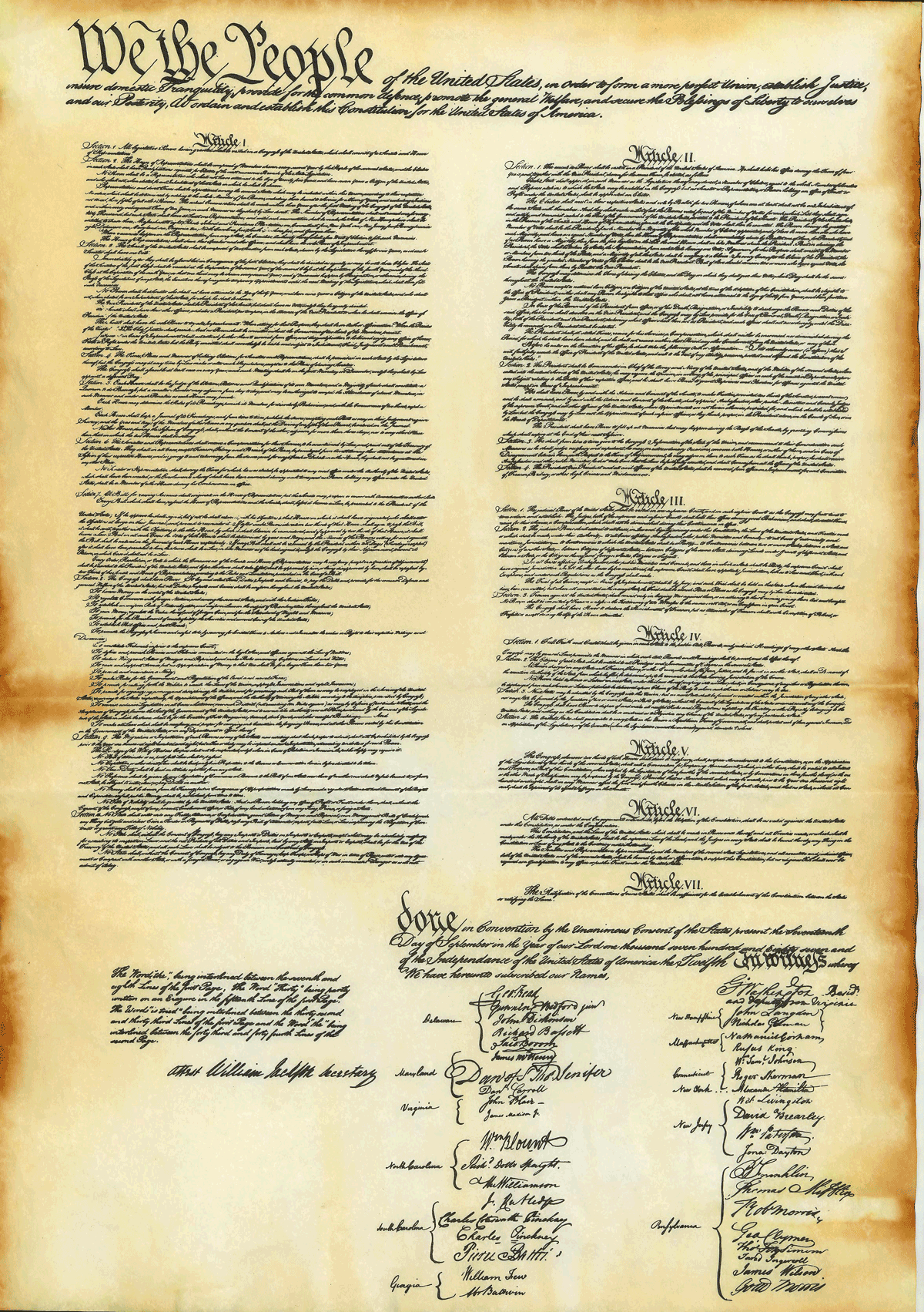 This is a graphic of Canny Printable Copy of the Constitution