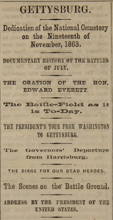 the gettysburg address including first day printings