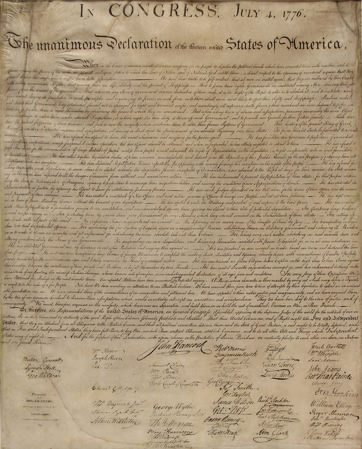 The declaration of independence william j stone engraving