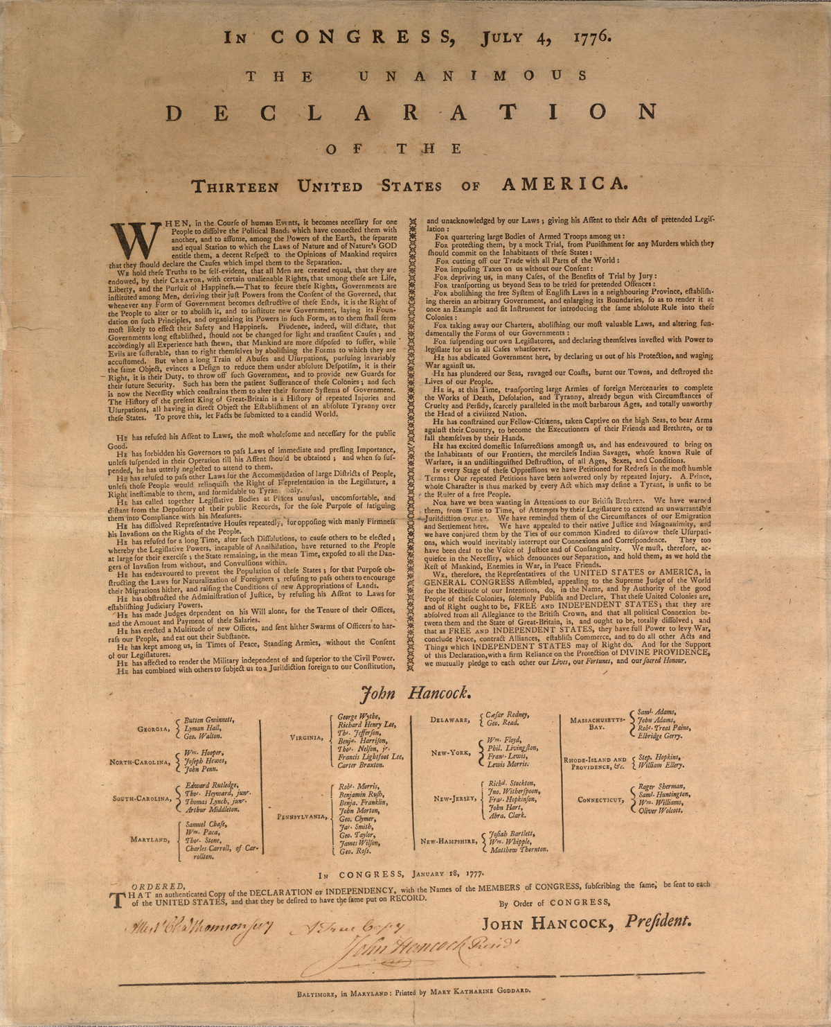 The Declaration of Independence—William J. Stone Engraving