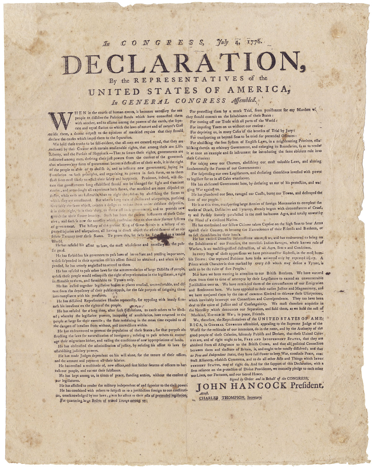 declaration of independence the declaration of independence rare broadside printed and posted in 1776