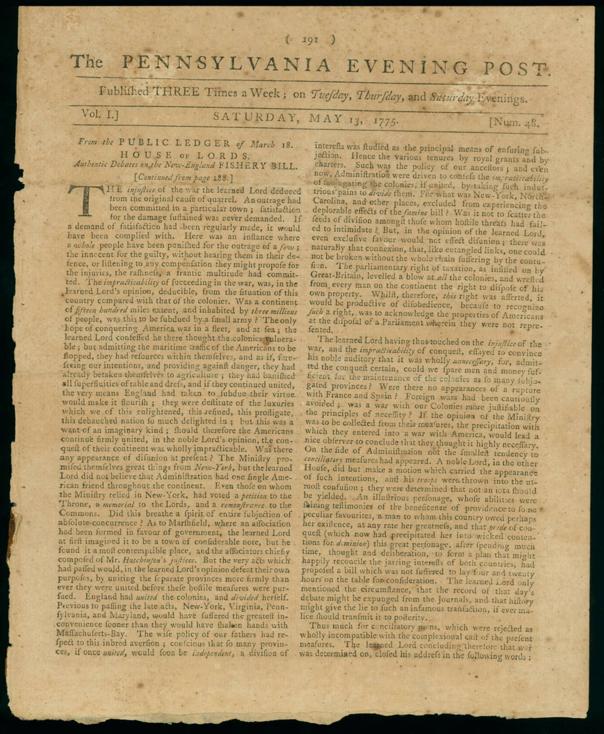 1775 revolutionary war newspaper  sold
