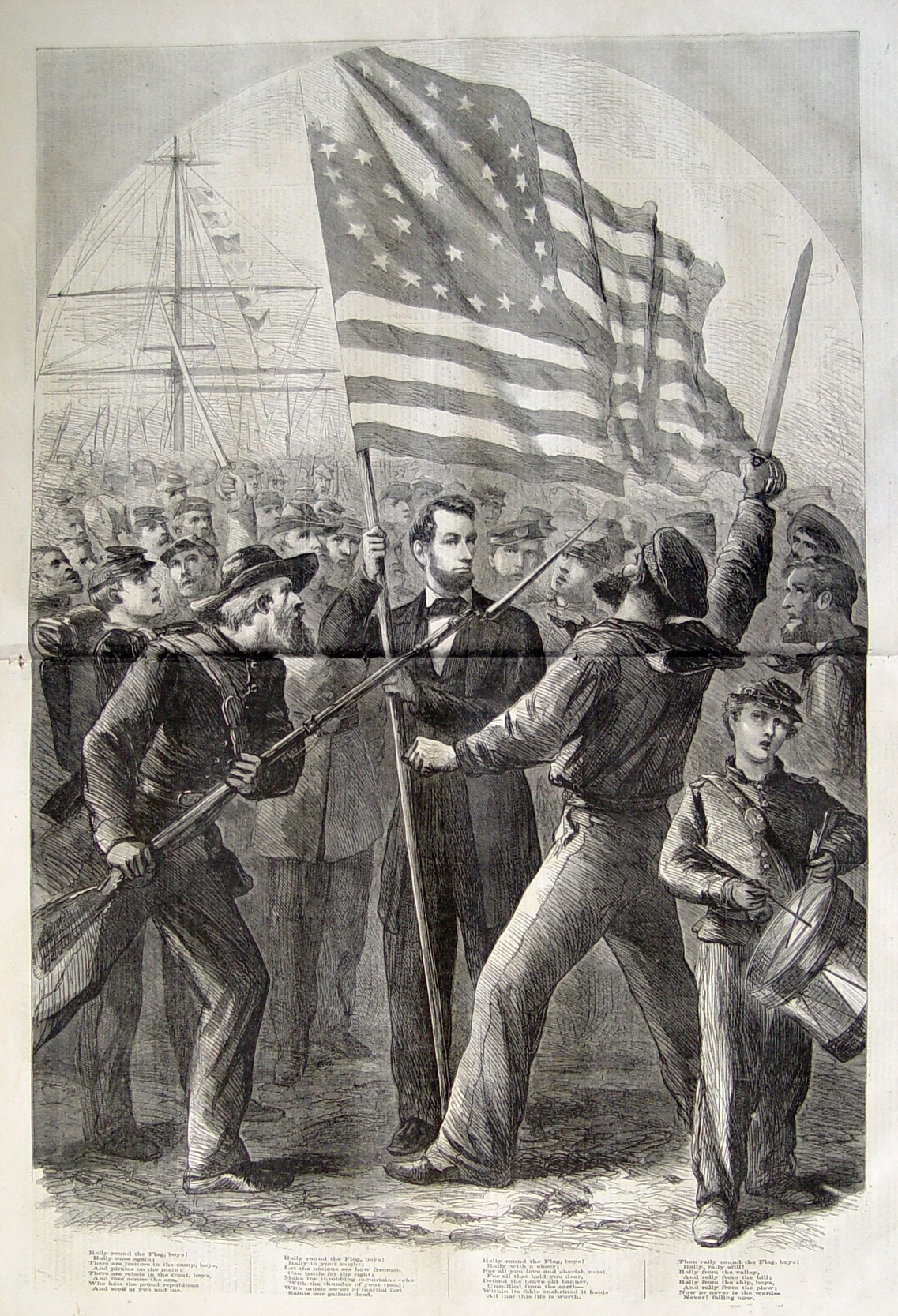 'Rally round the Flag, Boys!' President Lincoln Centerfold